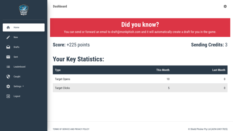 Dashboard - Cyber Security Game